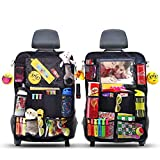 ROVICLU Car Back Seat Organizers Kick Mats Protectors for Kids with 11 inch Tablet Holder. (2 Pack)