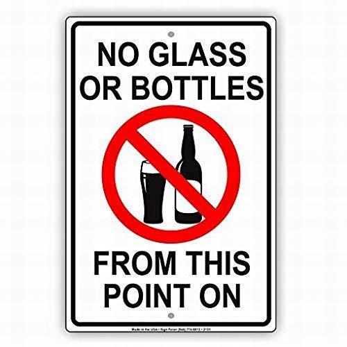 HNNT Nieuwe Tin Teken Geen Glas Of Flessen van Dit Punt Op Veiligheid Beperking Waarschuwing Veiligheid Aluminium Metalen Teken voor Wanddecor 8x12 INCH