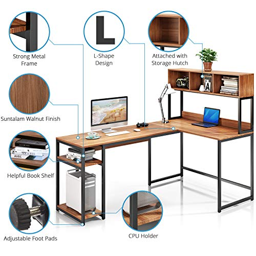 Tangkula 55 Inches L Shaped Desk Space Saving Corner Computer Desk Study Writing Table With Storage Hutch Black Gaming Table Home Office Desk Computer Workstation With Storage Bookshelf Office Products Office Furniture