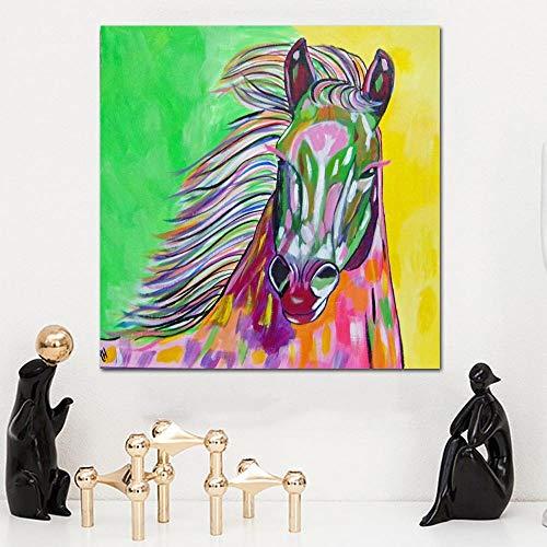 YHZSML Graffiti Art Horse Paintings Bunte Pferdekopf Bilder Für Wohnzimmer Wandkunst Tier Dekorative Drucke Kein Rahmen D 50x50CM