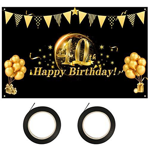 LOPOTIN 40. Geburtstag Deko 40 Jahre Geburtstagsdeko 40er Girlande Happy Birthday Banner Schwarz Gold Hintergrund Zeichen Photo Booth zum Aufhängen Stoff Schild Poster für Frauen Männer Jahrestags