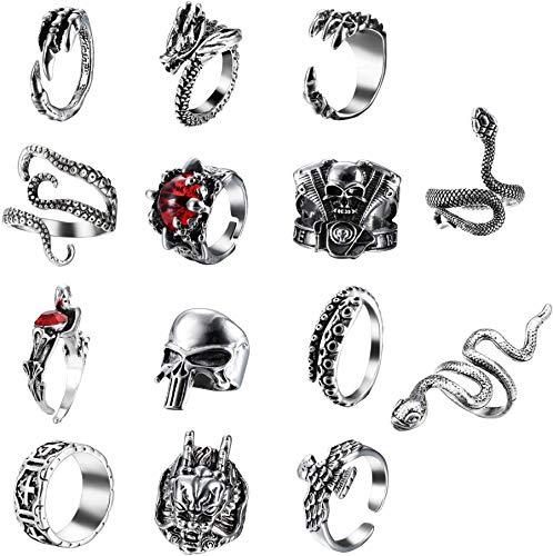Adramata 14 Stück Vintage Punk Ringe für Männer Frauen Cool Snake Tiger Dragon Schädel Ringe Verstellbare Ringe Set Gothic Schmuck