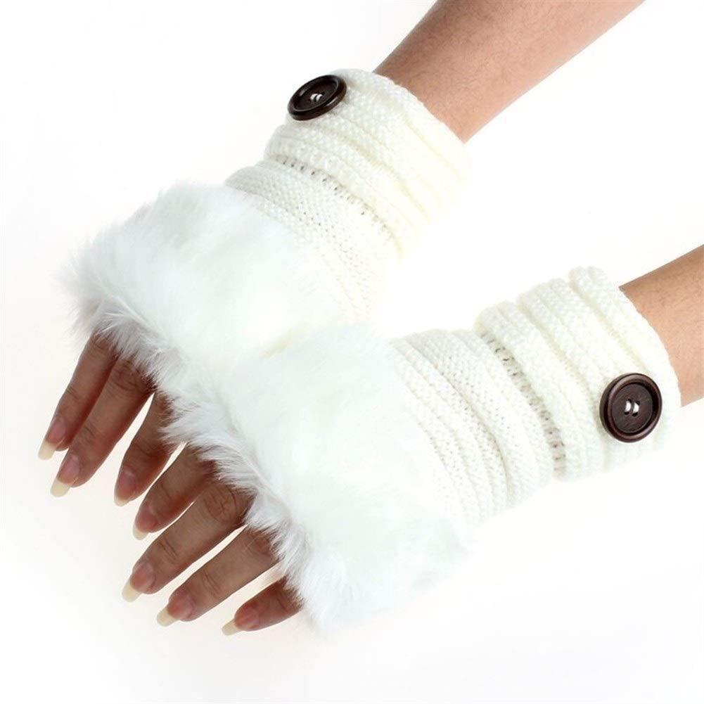 FASGION Women Girl Winter Gloves Warm Fingerless Gloves Faux Rabbit Fur Thick Warmer Wrist Stretch Knit Touch Screen Mittens guantes F, Gloves Size : One Size