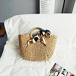 FERRY Vintage Half Circle Solid Color Straw Bag Rattan Woven Handbag Ladies Casual Fashionable Knitted Messenger Beach Bags
