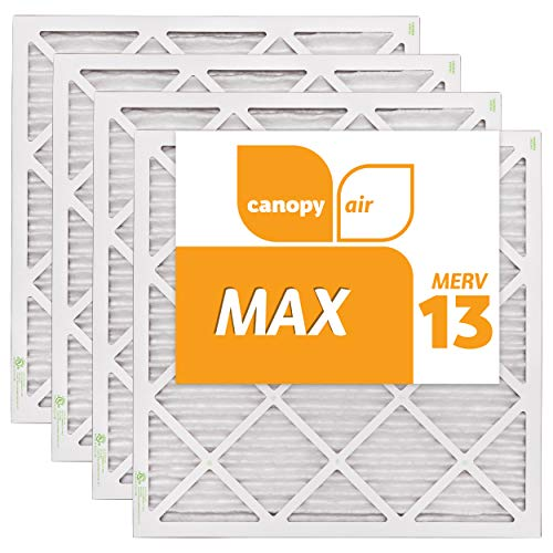 Canopy Air 20x20x1, MAX AC Furnace Air Filter, MERV 13, Made in the USA, 4-Pack (Actual Size 19 1/2' x 19 1/2' x 3/4')