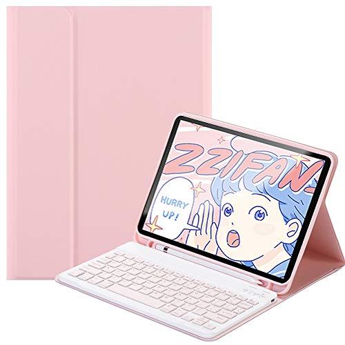SsHhUu Funda con Teclado para iPad Pro 12.9 4ª y 3ª generación 2020/2018, Funda con Teclado inalámbrico magnético Desmontable , lápiz de Carga de Segunda generación, Rosa