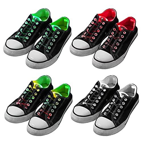 Herefun 4 Pares LED Cordones de Zapatos, Juguete Luminoso, Cordones Luminosos, Niños Juguete, Regalos de Cumpleaños, Cumpleaños Artículos de Fiesta, Fiestas Favores o Outdoors Al Aire Libre