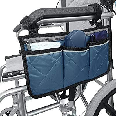 Wheelchair Side Bag with Pouches and Reflective Stripe, Wheelchair Armrest Side Organizer for Electric Wheelchairs, Manual Wheelchairs, Lightweight and Easy to Use (Blue)