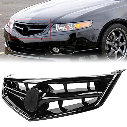 HECASA All Black Front Grill Grille Compatible with Acura TSX 2006-2008 Replacement for AC1200112 71121SECA02ZA