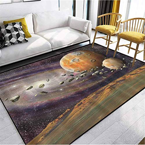 Galaxy Universe Outer Space Planets Stars Deep Sky Objects Stones Astronomy Gifts Home Fashionable Fade Resistant Rug Perfect for Dining Rooms, Kitchens and More Green Purple Yellow White Multicolor