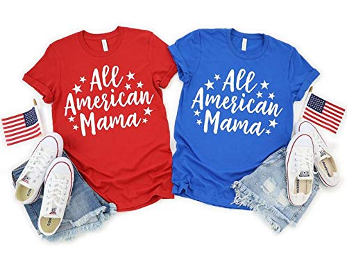 Deloach Couture All American Mama Shirt, Red White and Blue Merica Shirt, Mama Life,4th of July Mom Life, Gift for Mom, USA Women Shirt, July 4th, Memorial, Independence Holiday Shirt