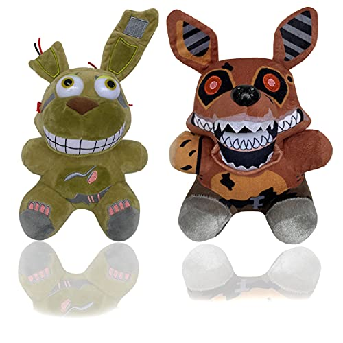 Five Nights 2 Plush Toys at Freddy's Doll Stuffed Animal Freddy Plush, Plush Toy Gift for Kid's FNAF Fans (Green Bonnie+ Brown Foxy)