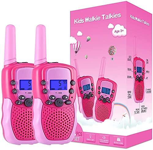 Kearui Juguetes para Niñas de 3-8 Años,Walkie Talkie Niños 8 Canales LCD Pantalla VOX Larga Distancia 3KM,Regalos para Niños o Niñas de 3 a12 Años