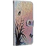 Saceebe Compatible avec iPhone 7 / iPhone 8 4.7 Coque Glitter Paillette Brillante Cuir Portefeuille Étui à Rabat Pochette Housse Protection 3D Motif Dessin Flip Case Magnétique,Papillon Feuilles