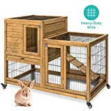 Best Choice Products Portable Outdoor 2-Story Mobile Fir Wood Rabbit Cage Hutch Enclosure w/Locking Wheels, Latch Doors