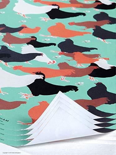 Mooie kleurrijke 'Hens' Design geschenkverpakking/inpakpapier van Emily Burningham 4 Sheets