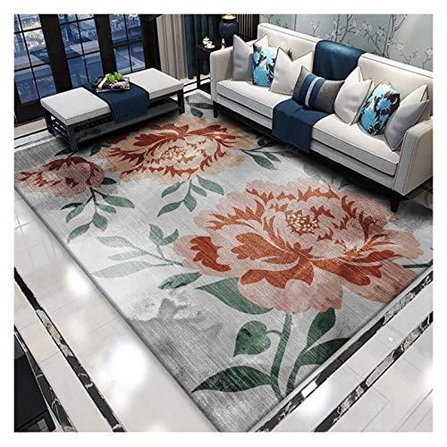 GJCC Red Large Flower Area Rugs for Living Room Bedroom Kitchen, Soft Comfy Carpets for Kids Room Dorm, Indoor Home Decor Floor Rug, Machine Washable,2.5