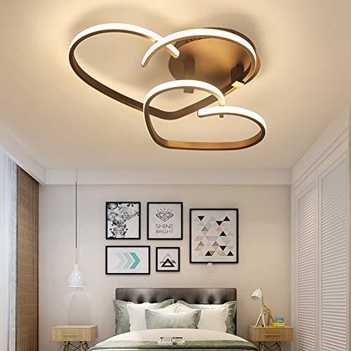 Lámpara de techo LED para habitación de los niños, pasillo, cocina, forma de corazón, decoración de techo, dormitorio juvenil, pantalla acrílica, diseño clásico y moderno, color marrón