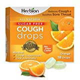 Herbion Naturals Sugar Free Cough Drops with Natural Orange Flavor, Natural Orange, (Pack of 1), 18 Count