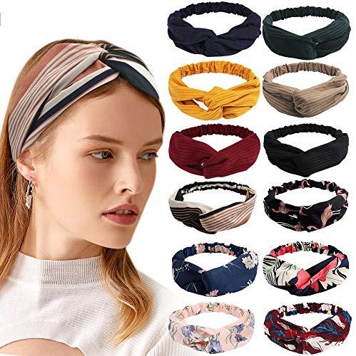 12 Pack Soft Boho Headbands for Women, Elastic Soft Headbands for Hair, Boho Knotted Headbands, Comfortable Hair Hoop Hairbands, Hair Accessories for Women Girls, Criss Cross Head Wrap Hair Band