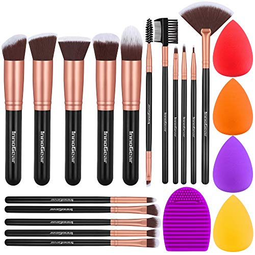 InnoGear Makeup Brushes Set, Professional Cosmetic Brush Set with 16 Makeup Brushes and Sponges and Brush Cleaner for Foundation Powder...