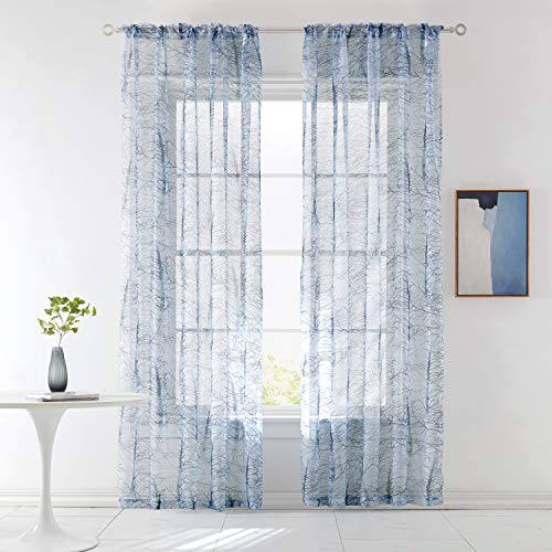 KEQIAOSUOCAI Blue White Tree Branches Printed Sheer Curtains for Bedroom Rod Pocket Sheer Volie Curtain 84 Inches Long for Living Room 2 Pcs 52Wx84L