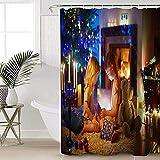 ABRAN Navidad Chimenea Niñas Baño Ducha Curtas con Hooksxmas Árbol Tela Decorativa Ducha Curta Set Impermeable Poliéster