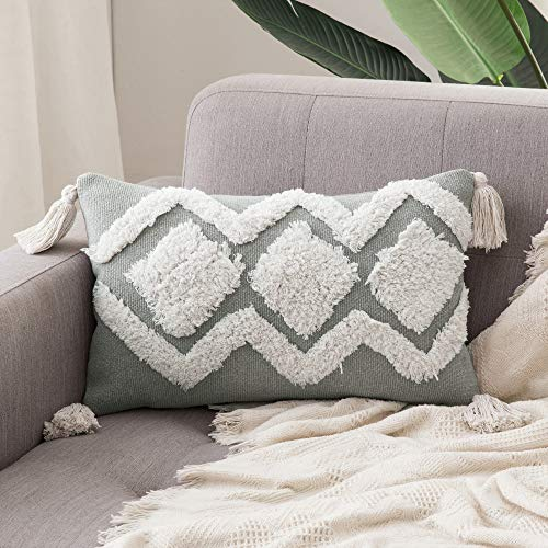 MIULEE Decorative Throw Pillow Cover Tribal Boho Woven Pillowcase with Tassels Diamond Design Super Soft Pillow Sham Cushion Case for Sofa Couch Bedroom Car Living Room 12X20 Inch Gray White