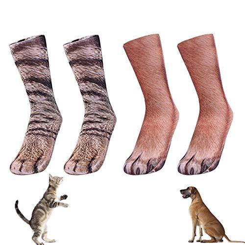 2 Paar Tierpfoten Socken, Lustige Socken, 3D Gedruckte Socken, Katzenpfote & H&epfote, Animal Paw Socks Paw Cat Halloween Socken Neuheit Weihnachtssocken, Geeignet für Fre&e mit Haustieren