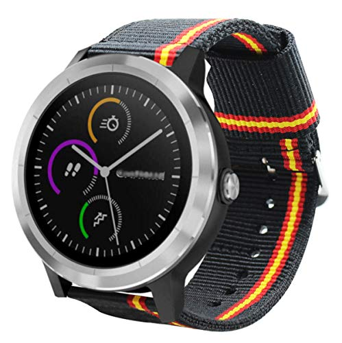 Estuyoya - Pulsera de Nailon Compatible con Garmin Vivoactive 3/Galaxy Watch Active 2/Forerunner 245/645 Music/Suunto 3/Polar Ignite Colores Bandera de España Transpirable Elegante 20mm - Lineblack