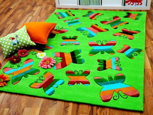 Lifestyle Kinderteppich Schmetterlinge Grün Pink in 3 Größen SONDERANGEBOT