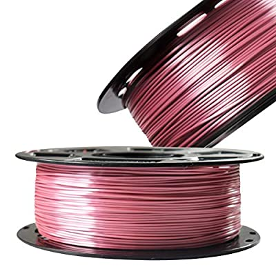 Silk Rose Gold PLA Filament Metallic Shiny 3D Printing Material, 1.75mm Diameter 1kg Spool 2.2lbs, Widely Fit for FDM 3D Printers with One Bag Filament Sample Gift