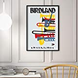 VVSUN Arte de Pared Moderno Impresión de póster Pintura Colorida de la Lona Nueva York Birdland Jazz Imagen de música para la decoración de la Sala de Estar 50X70cm 20x28 Pulgadas Sin Marco
