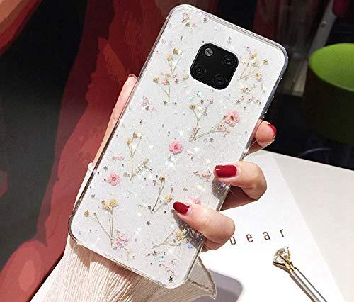 Custodia Compatibile con Huawei Mate 20 Pro Articolo Trasparente Silicone TPU Morbido Leggero Vero Fiore Fiori Secchi Paillettes Glitter Bling Ultrasottile Flessibile Protettiva Bumper Case,Rosa