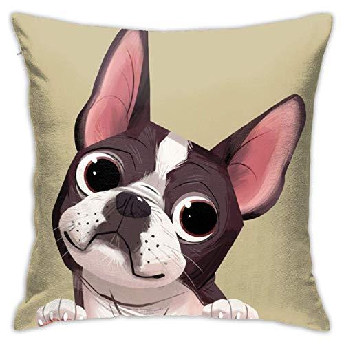 Lawenp Boston Terrier Fundas de Almohada Funda de Almohada Cuadrada Decorativa Funda de cojín Suave y sólida para sofá Dormitorio Coche 18 X 18 Pulgadas