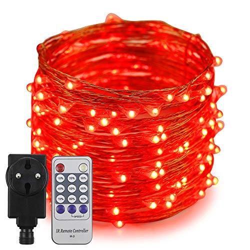 Erchen Strom-betrieben LED Lichterkette, 66 FT 200 LED 20M Stecker dimmbare Kupfer Draht Lichterketten mit 4.5V DC Adapter Fernbedienung für Innen Außen Weihnachten Party (Rot)