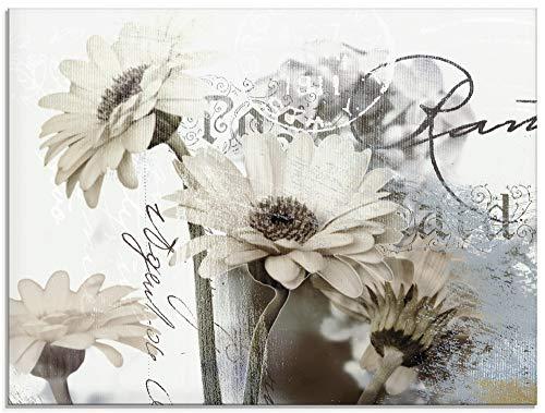 Artland Glasbilder Wandbild Glas Bild einteilig 80x60 cm Querformat Blumen Blüten Gerberas Schriftzug Shabby Chic T4RU