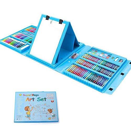 Estuche Colores,Niños Acuarela Lápiz Niños Dibujo Kit de Artista Lápices de Colores Set Crayón Pintura al óleo Brocha Herramienta de Dibujo Regalo con Caja para Papelería Escolar 208 unids (Azul)