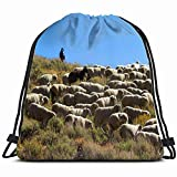 Flock Sheep Being Moved High Country Animals Wildlife Drawstring Backpack Bag Sackpack Gym Sack Sport Beach Daypack for Girls Men & Women Teen Dance Bag Cycling Hiking Team Training