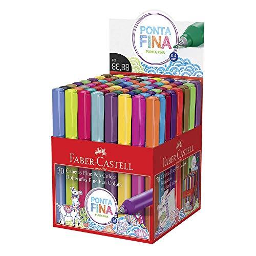 Caneta com Ponta Porosa, Faber-Castell, FPB/ES70ZF, Multicor, pacote de 70