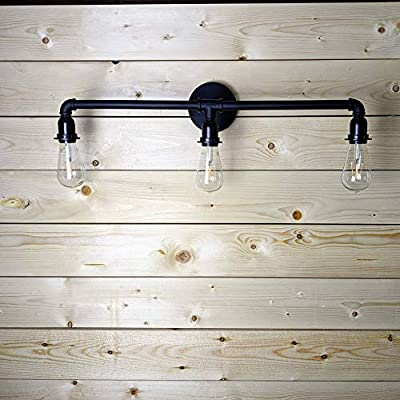 LOUmination Matte Black Vanity Fixture - Industrial Farmhouse Bathroom Light Fixtures - Metal Steampunk, Rustic Pipe Sconce - Dressing Room, Bedroom, Dining Room, Entryway, Hallway - 3 Lights