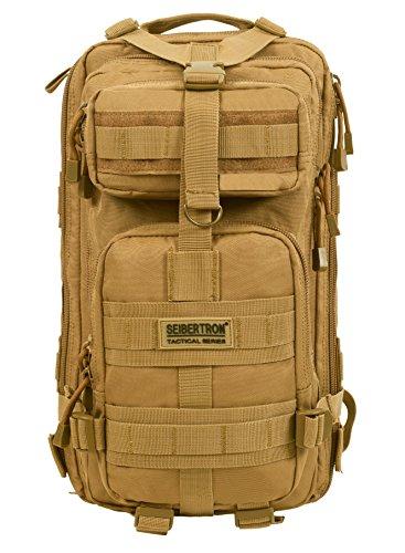 Seibertron Falcon Taktischer Militärischer Rucksack Kompakt Angriff für Wandern Reisen Trekking Tasche Tactical Bag Assault Backpack Military Camping Pack Outdoor Daypacks (Khaki 27L)