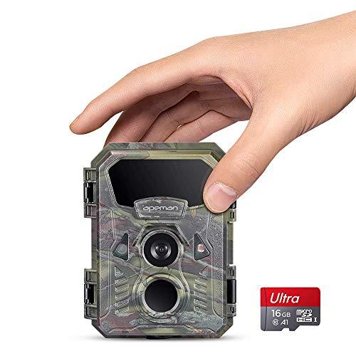 APEMAN Mini Wildkamera 16MP 1080P wasserdicht nach IP66 mit 16 GB SD-Karte 850nm Sichtbares Licht Nachtsicht-Kamera zur Beobachtung von Wildtieren und Heimüberwachung