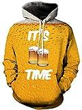 TUONROAD Sudadera con Capucha Hombre Novedad Cerveza 3D Impreso Amarillo Hoodie Mujer Ligero Gym Sweatshirt Confortable Pullover Colorido Manga Larga Sweater Hoody con Bolsillos Cordón L-XL