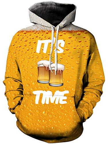TUONROAD Felpa Uomo Birra 3D Stampato Hoodie Unisex Pullover Sweatshirt con Tasche Coulisse Felpe Uomo con Cappuccio - L/XL