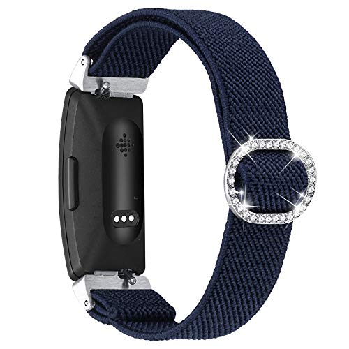 fastgo Compatible with Fitbit Inspire 2/ Inspire HR/Inspire Bands Women Elastic Adjustable Bracelet Stretch Soft Boho Replacement Wristband Dressy Heart Rate Straps Accessories Gift Girls (Darkblue)
