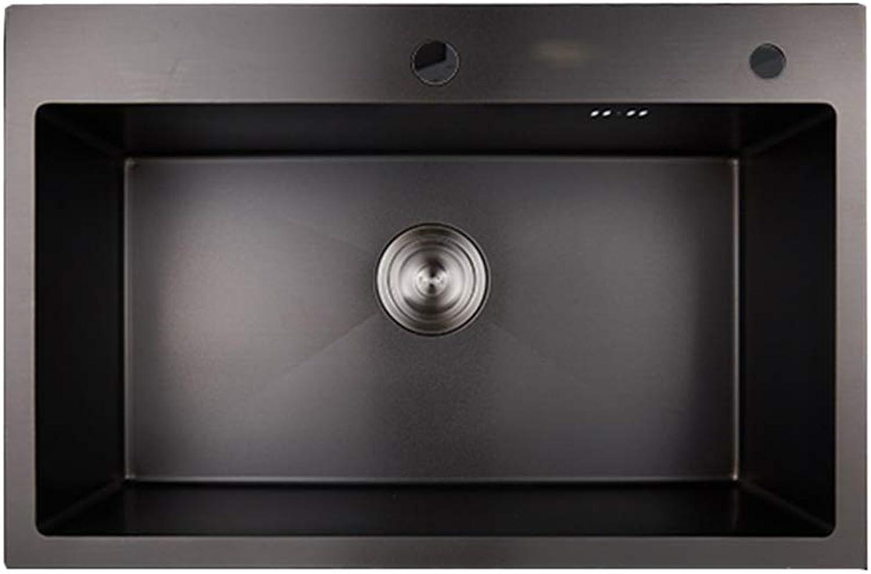 RJLI Küchenspülen Spüle Küche verdickt einzigen Trog Edelstahl-Waschbecken Waschbecken Spüle mit Einer Schüssel Spüle Küchenspülen (Farbe   schwarz, Größe   60  45  22cm)