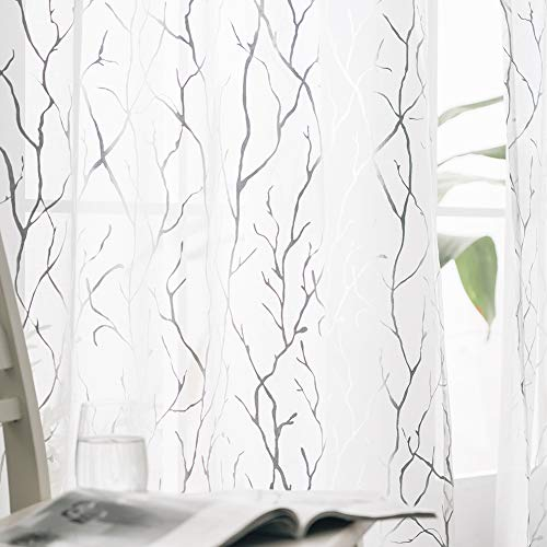 FINECITY White Sheer Curtains 84 Inch Long - Silver Foil Tree Branch White Curtain 2 Panels Rod Pocket Sheer Window Curtains Tree Pattern for Living Room, 52 x 84 Inch, 1 Pair, White Silver