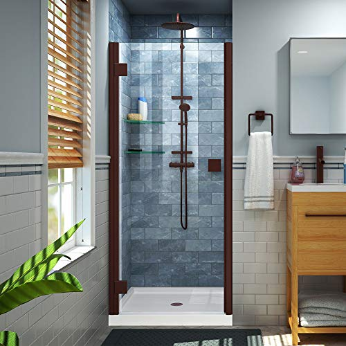 Lumen 36 in. D x 42 in. W by 74 3/4 in. H Hinged Shower Door in Oil Rubbed Bronze with White Acrylic Base Kit - DreamLine DL-533642-06