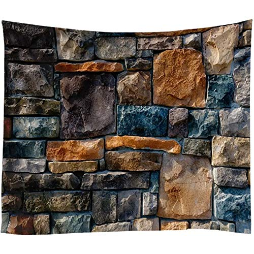 N/A Decoración De Tapices Impresión 3D Ladrillos De Piedra Vintage Impresos Tapiz De Pared De Gran Tamaño Hippie Pared Mandala Tela Psicodélico Arte Pared Decoración Vacaciones (130 X 150 Cm)